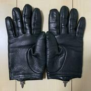 Chrome Hearts Authentic Leather Gloves Dagger Zip Black Size 7 Lining Cashmere