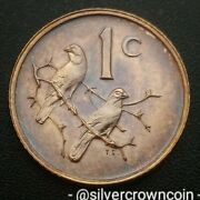 South Africa 1 Cent 1976. Km91. One Penny Coin. Sparrows. Birds. One Year Issue