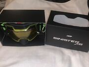 509 Sinister X6 Goggles Snowmobile Vlt S1 Yellow Tint Lime Green Strap New