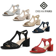 Dream Pairs Womenand039s Low Chunky Block Heel Sandals Open Toe Dress Sandals Shoes