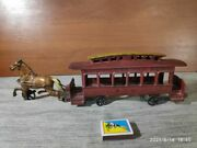 Antiqe Toy Horse Drawn Tram Crew Of Passenger Transport Metal From The 20th