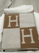 Hermes Classic Camel Brown Large Wool Cashmere Avalon Blanket Throw Houseware