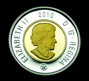 2010 2 Toonie Silver Proof Coin Taken From The Proof Set With Gold Inlay