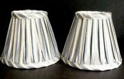 2 New Silk Delft Blue Chester Stripe Gathered Chandelier Lamp Clip Shades 4andrdquo
