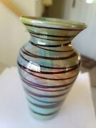Art Glass Vase Color-changing Opalescent Glass With Root Beer Colored Threading