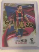 Lionel Messi 2020-21 Topps Chrome Uefa Soccer Golazo Gold Bubbles Refractor