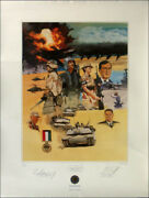 George H.w. Bush - Printed Art Signed In Pencil With Co-signers