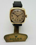 Rare Rolex Solid 9k Gold Silver Dial Trench Manual Wind Manand039s Watch