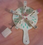 Vintage Hand Painted Wooden Folk Art Pecking Chickens Toy Paddle Game Bird Ball