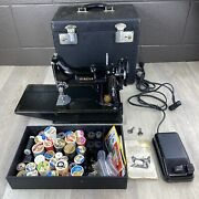 1955 Singer 221 Featherweight Sewing Machine - With Case And Extras - Works Well