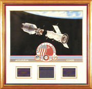 Apollo - Soyuz Crew - Printed Art Signed In Pencil Circa 1988 With Co-signers