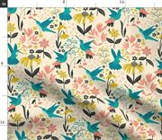 Bees Hummingbird Flowers Floral Plants Birds Spoonflower Fabric By The Yard
