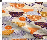 Noodle Day Japan Home Decor Food Novelty Bowl Spoonflower Fabric By The Yard