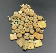 Ancient Egyptian Romans Antique Shell Quartz Faience Beads Jewelry Necklace