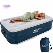 Inflatable Mattress Air Bed With Built-in Pump Puncture Resistant Premium Twin