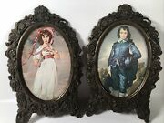 Vintage Pinkie And Blue Boy Pictures In Oval Metal Ornate Bronzed Frames Metal