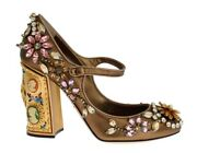 Dolce And Gabbana Shoes Womenand039s Gold Leather Crystal Mary Janes Pumps Eu38.5/us8.5