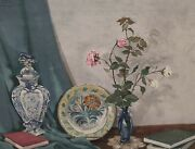 Heinz Baden 1887 - 1954 - Still Life With Porcelain Roses Books - Dated 45
