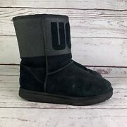 Ugg Womens Australia 1096472 Black Suede Classic Logo Sparkle Ankle Boots Size 7