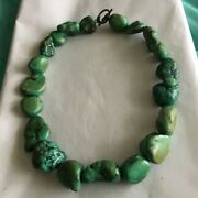 """Turquoise Necklace Green Blue Natural Untreated Nuggets 16"""" Choker"""