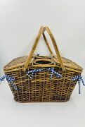 Large Wicker Rattan Wine And Cheese Lined Picnic Basket Carrier Holder Vintage