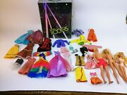 Lot Vintage Pre1967- Barbie Dolls And Clothing Lot + 1985 Rockers Carry Case