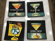 Mary Naylor Hand Painted Black Ceramic Hanging Wall Plates