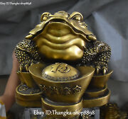 26 China Pure Bronze Gilt Wealth Golden Toad Spittor Coin Purse Yuanbao Statue