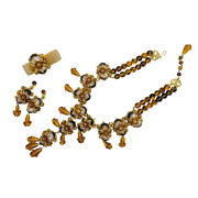 Stanley Hagler Nyc Brass Tiger Eye Glass Drops Beaded Necklace Bracelet And Earr