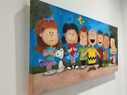 Peanuts Painting | All Characters | Large Original Art Swept Oil On Canvas Rare