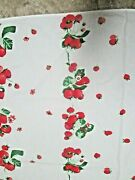 Vintage 1950's Wilendur Strawberry Print Cotton Tablecloth - Great Condition
