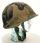 Vintage Us Military Army Helmet Camo Cover And Liner Band - Fiberglass - Heavy