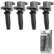4 Pack Ignition Coil And Grease For Ford Lincoln Mazda Mercury 2.5l 2.0l 2.3l L4