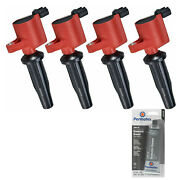 4 Pack Engine Ignition Coil And Grease For Ford Lincoln Mazda 2.5l 2.0l 2.3l L4