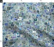 Stamp Collection Postage Stamp Blue International Spoonflower Fabric By The Yard