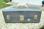 Vintage Union Steel Chest Watertite Tool Box Fishing Tackle Box