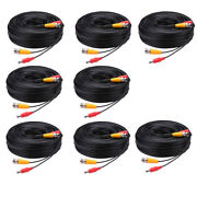 Lots 30m -md Security Camera Cable Cctv Video Power Wire Bnc Rca Black Cord Lot