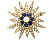 Vintage 0.79 Ct Sapphire And Pearl 9k Yellow Gold Star Brooch Victorian Style