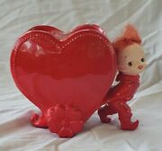 Vintage Relpo Valentine's Day Girl With Hair Heart Planter