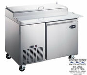 Saba 44 Stainless Steel Commercial Pizza Prep Table And Food Storage 6 Pans