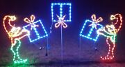 Christmas Light Display Animated Elves Tossing Packages Gifts Led Yard Art