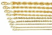 Solid 10k Yellow Gold Rope Chain 1mm-10mm Diamond Cut Pendant Necklace16-30