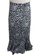 Katies Womens Long Skirt Black And White Flared Bottom Size 8