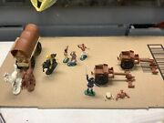 Vintage Toy Cowboys + Indians +covered Wagons +horses W Germany Antique