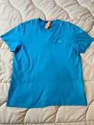 590 Dolce And Gabbana Cotton T-shirt With Logo Plaque Light Blue Authentic