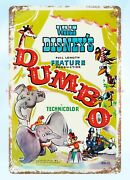 1941 Dumbo Movie Poster Metal Tin Sign Vintage Style Signs