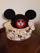 New Le Disneyland 55th Anniversary Mousketeer Ear Hat Box Mickey Mouse Ears