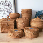 Handmade Bamboo Storage For Puand039er Tea Cake Rattan Tea Caddy Canister With Lid