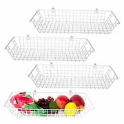 Wall Basket, Set Of 4 Metal Small Wire Baskets For Organizing Hanging In White