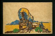 Novelty Postcard Yucca Wood Card Native American Indian Stagecoach Vintage